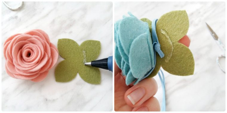 Add the leaves and elastic to turn your DIY felt flower into a cute headband