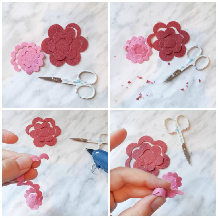 How to make simple little rolled flowers out of felt