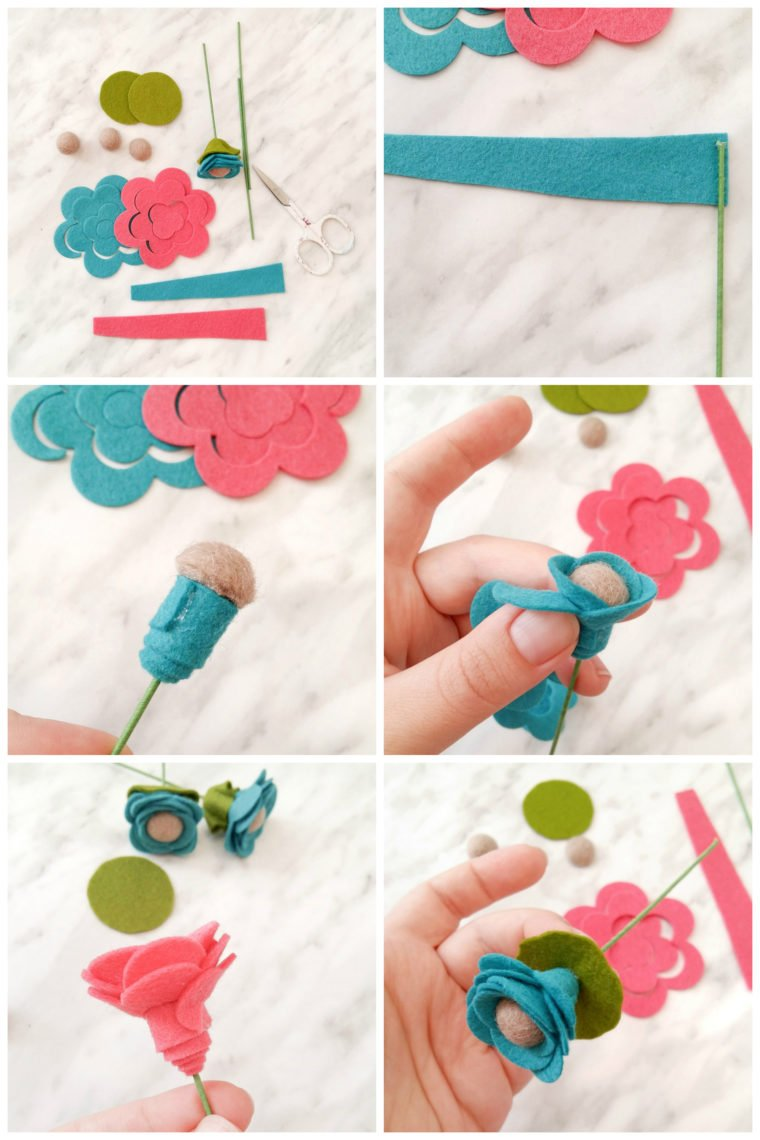 How to make rolled flower stems. Use a single die to create 6 different felt flower designs.