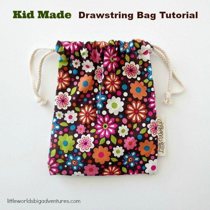 Easy drawstring bag sewing tutorial for kids