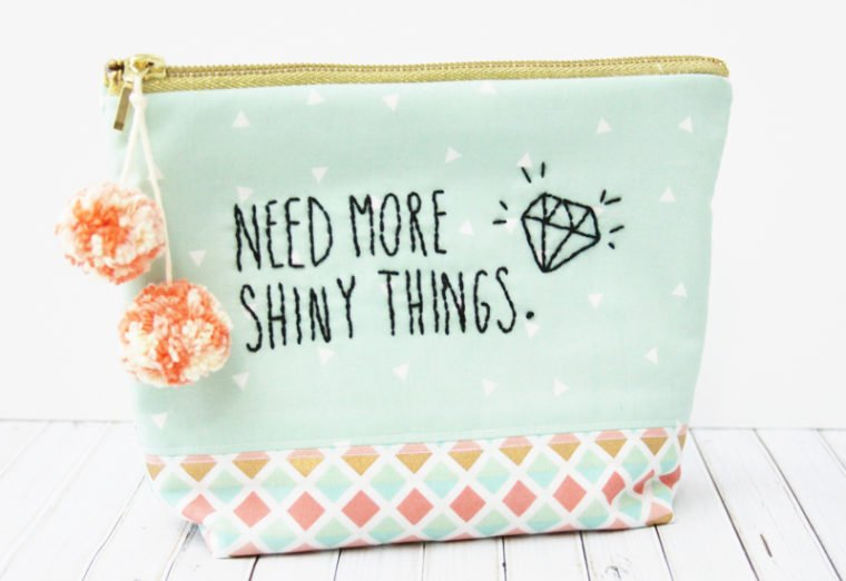 Adorable DIY hand embroidered zip pouch