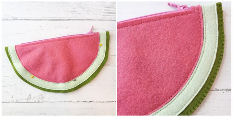 Finished the edges of the watermelon zipper pouch
