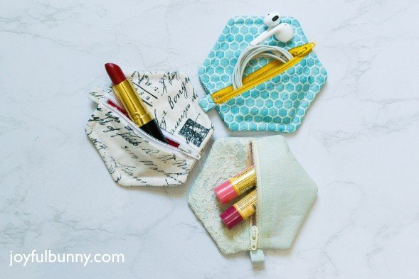 Make a cute hexagon pouch for lip balms or ear buds
