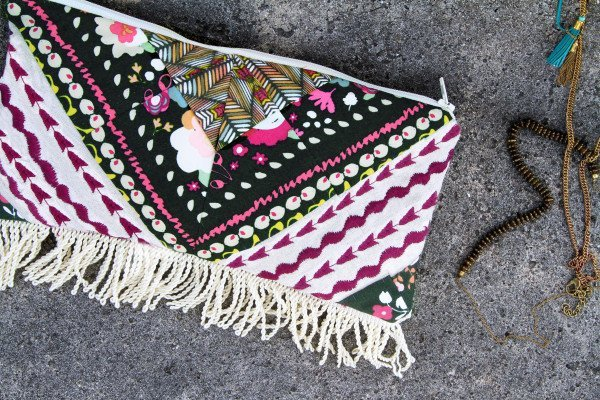 Boho inspired zippered clutch