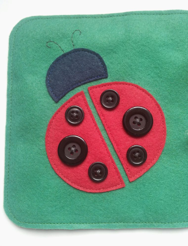 Felt ladybug page in a quiet book DIY