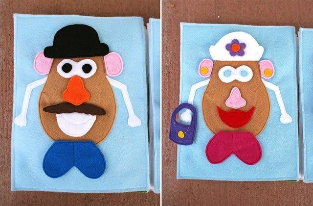 Free quiet book patterns. Mr Potato Head felt quiet book page