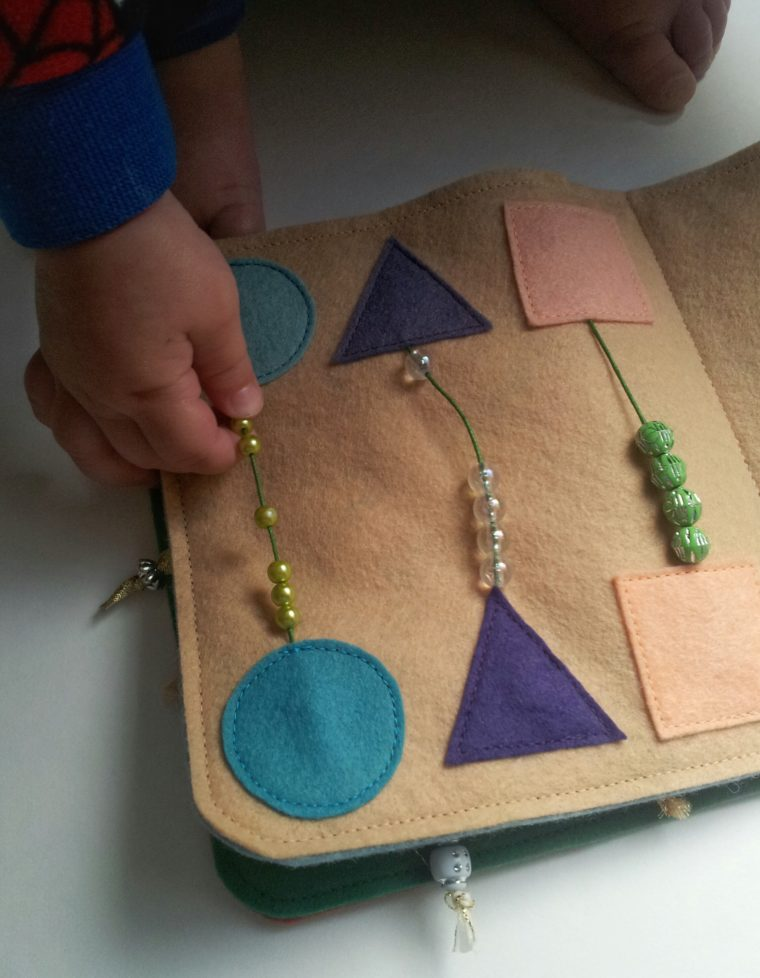 Make a counting and geometric shapes page for this free quiet book pattern