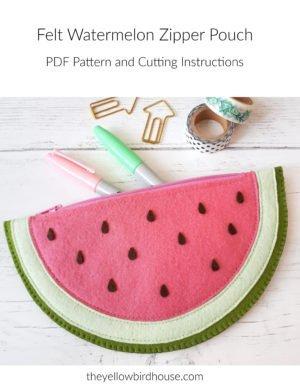 Felt Watermelon Zip Pouch Pattern