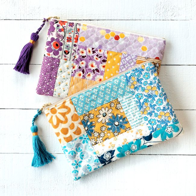 Learn how to make tassels for this sweet patchwork quilted pouch