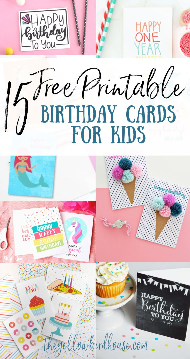 15 Free printable birthday cards for kids. Cute cards for kids that you can download and print at home. Free birthday cards for girls and boys. Unicorn birthday printables. Dinosaur birthday card. Fun food themed free printable birthday cards. Waiting til the last minute is not a problem anymore because you can simply print these cards at home for free!