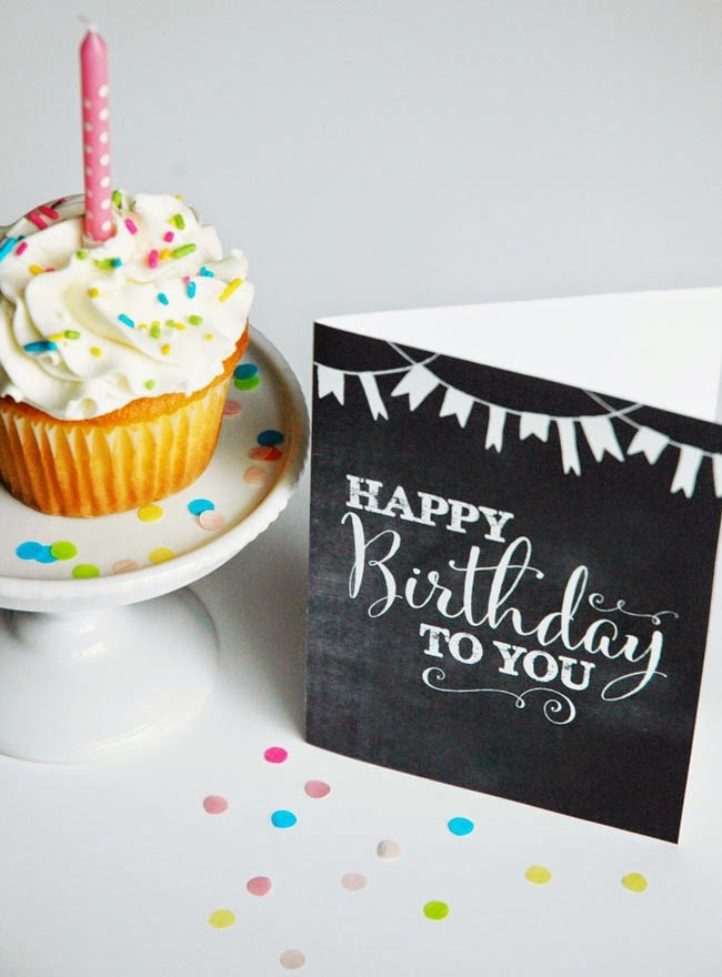 Printable chalkboard style birthday card freebie