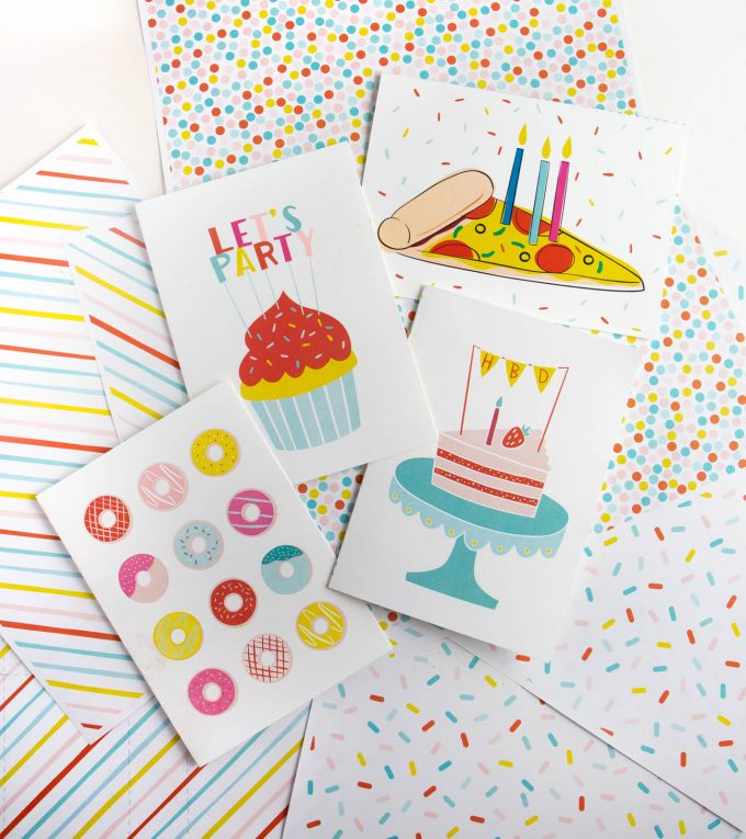 Free food themed birthday cards to print at home.