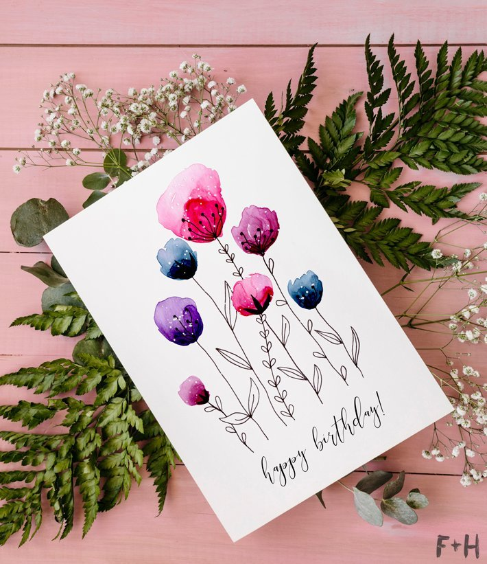 10 Free printable birthday cards for women. Cute watercolour flowers free birthday card to print at home