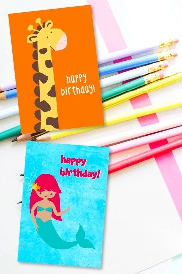 Free Printable birthday cards for kids. Cute giraffe birthday card. Sweet printable mermaid birthday card
