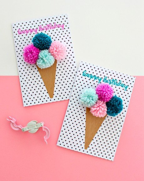 DIY ice cream cone birthday card tutorial and free printable
