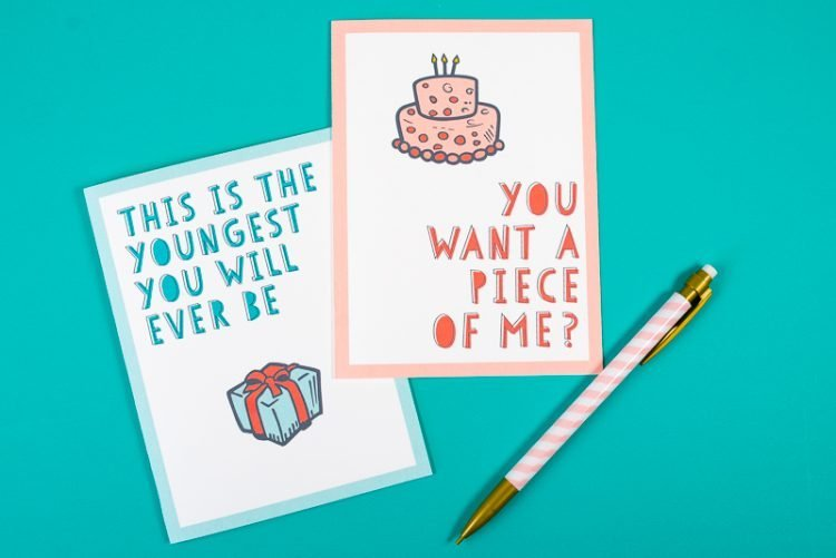 Clever printable birthday cards for grown ups. 10 free birthday cards.