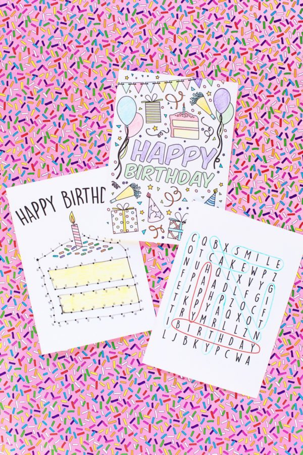 Colouring page birthday card. Connect the dots printable card.