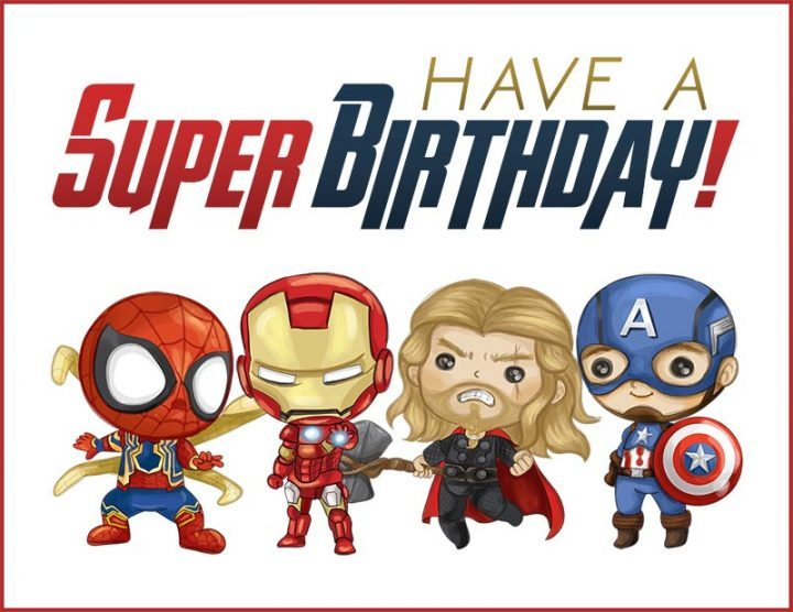 Superhero birthday card printable. Free birthday cards for kids