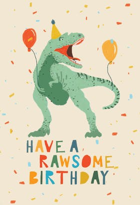 Dinosaur birthday card. Free dinosaur printable card