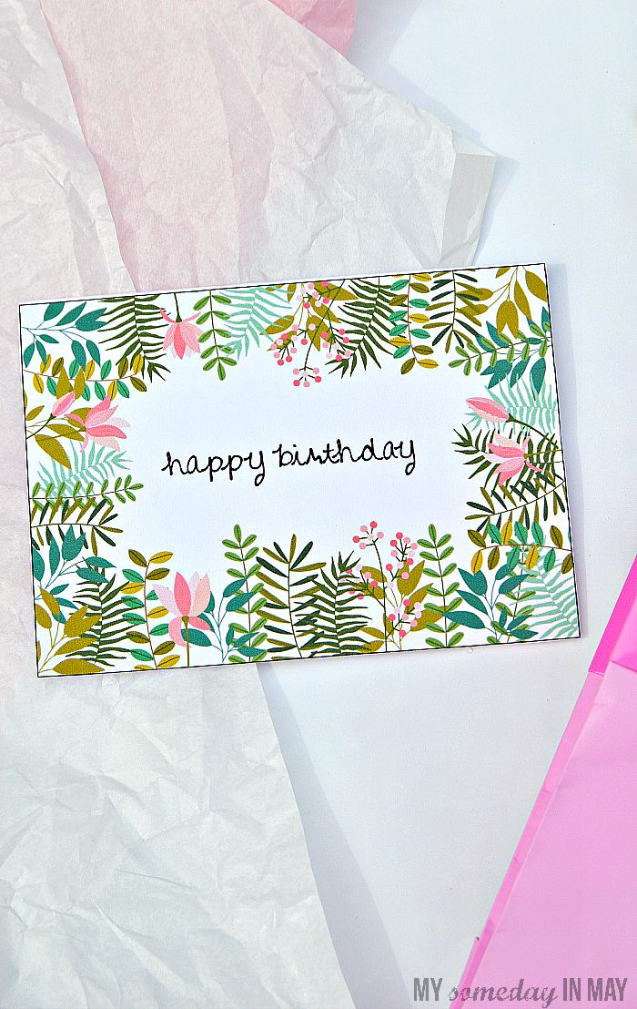 Floral birthday card free printable. Birthday cards to download and print at home for free.