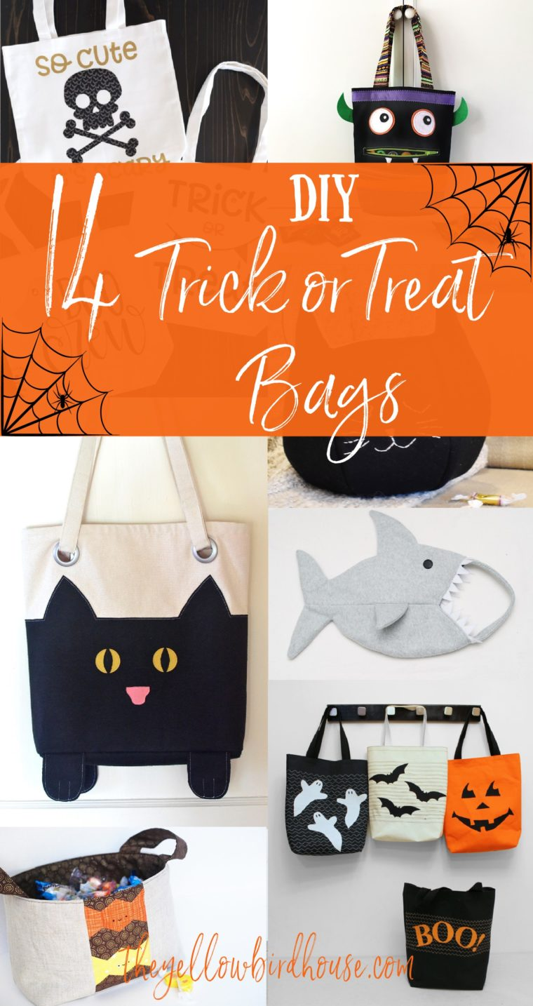 14 Awesome tutorials for DIY trick or treat bags! Make your kiddos one of these adorable tote bags for Halloween. DIY black cat bags, pumpkins bags and monster bags! Free sewing tutorials for Halloween.