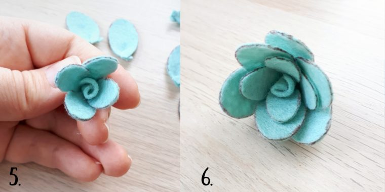 How to make a set of succulents for a DIY felt planter.