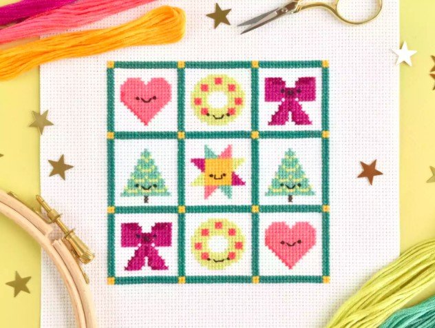 Christmas cross stitch sampler pattern