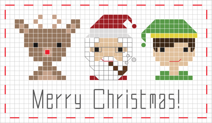 Trio of Christmas characters free cross stitch pattern