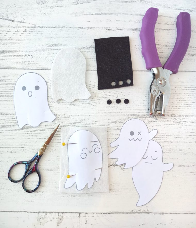 How to cut felt ghosts for a DIY Halloween banner.