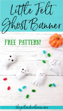 Make a spooky DIY felt ghost banner to decorate for Halloween! Free pattern and simple sewing tutorial suitable for beginner sewists. Make some DIY Halloween decor with this free pattern for little felt ghosts.
