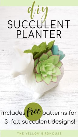 DIY Felt Succulent Planter with free patterns for 3 different succulent designs. Make some beautiful felt florals with this easy tutorial. Felt succulents are great for adding some colour to your decor. How to make felt succulents. DIY succulent decor.