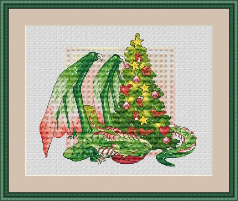 Christmas dragon modern cross stitch pattern