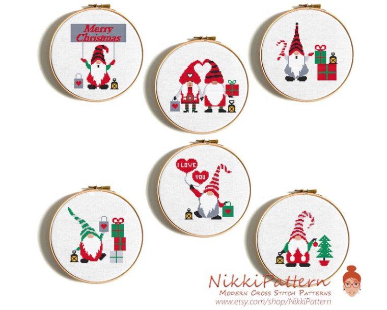 Christmas gnomes cross stitch pattern