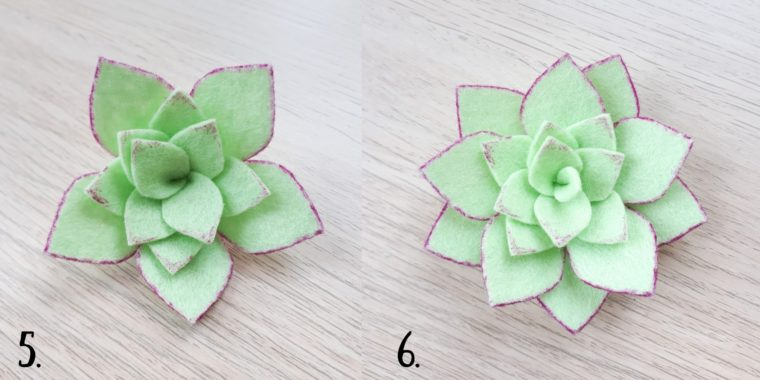 Add some pink sharpie details to the edges of the succulent leaves.