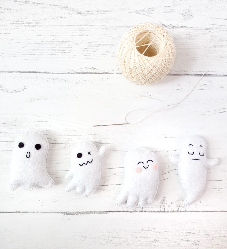 Use a length of twine to string together a bunch of little felt ghosts.