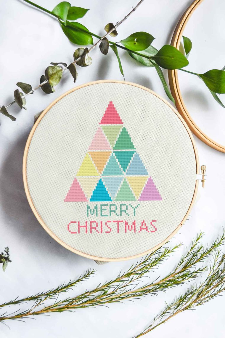 Modern rainbow Christmas tree cross stitch pattern
