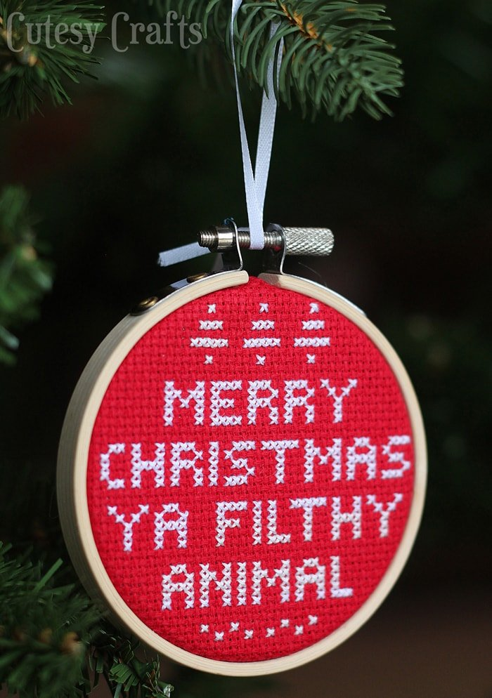 Merry Christmas Ya Filthy Animal embroidery cross stitch free pattern