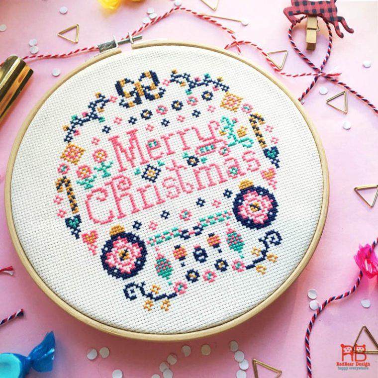 Beautiful Christmas cross stitch pattern for DIY holiday decor