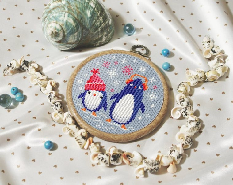 Cute penguin cross stitch embroidery pattern