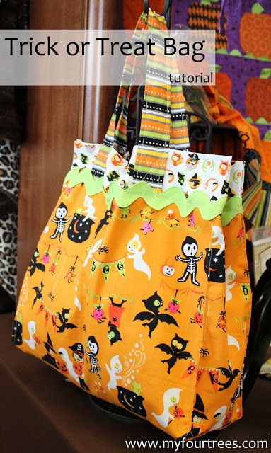 How to make a trick or treat bag with sewing tutorial. 14 DIY Halloween tote bags to make
