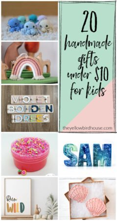20 Handmade Gifts Under $10 for Kids. Gift ideas for kids under $10. Handmade gifts for kids. Great gift ideas for children. Toys, hair accessories, decor and more. Gifts for boys under $10. Gifts for girls under $10. Stocking stuffer ideas for kids.