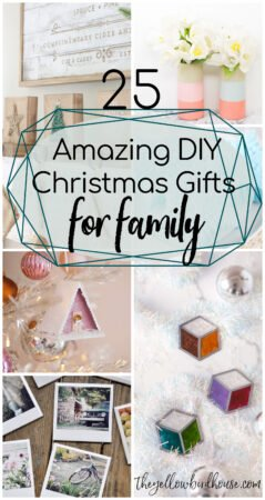 25 Amazing DIY Christmas Gifts for Family. Handmade gifts are always a good idea! Make one of these 25 DIY Christmas gifts for friends, family or coworkers. Gifts to craft, sew, paint and assemble. Easy handmade Xmas gift ideas. Family will love these handmade Xmas gifts!