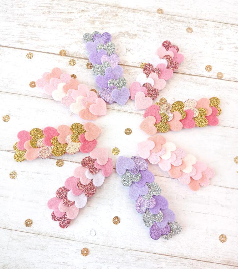 Glitter felt hearts hair clip