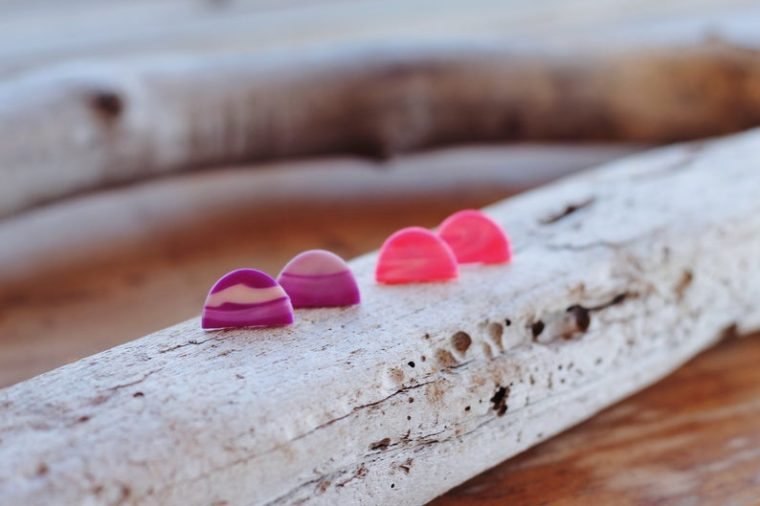Polymer clay half moon stud earrings