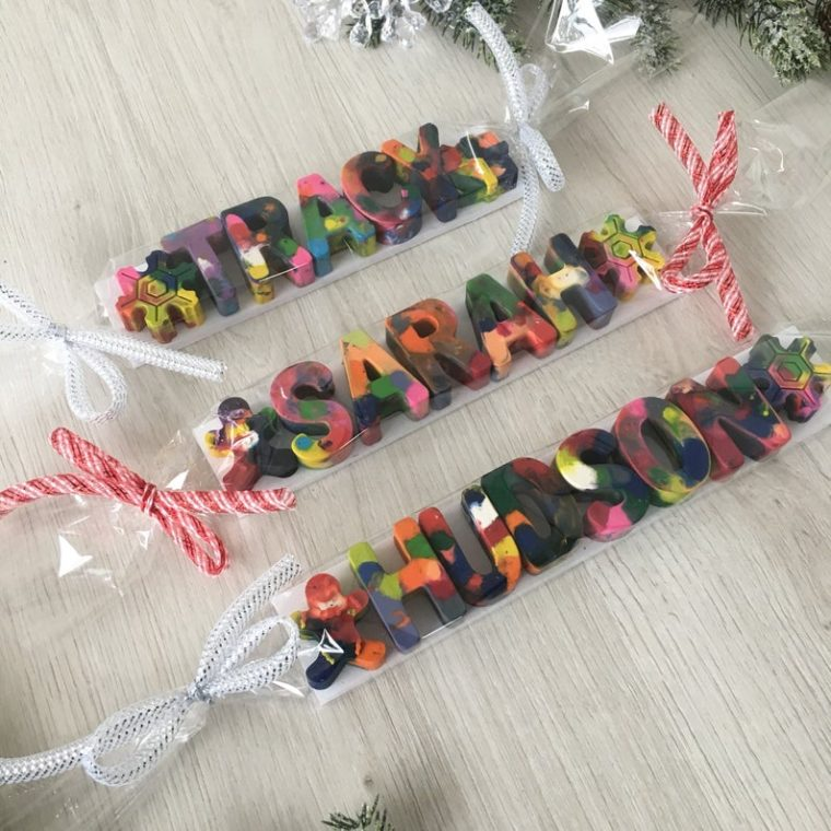 Personalized marble crayon letters