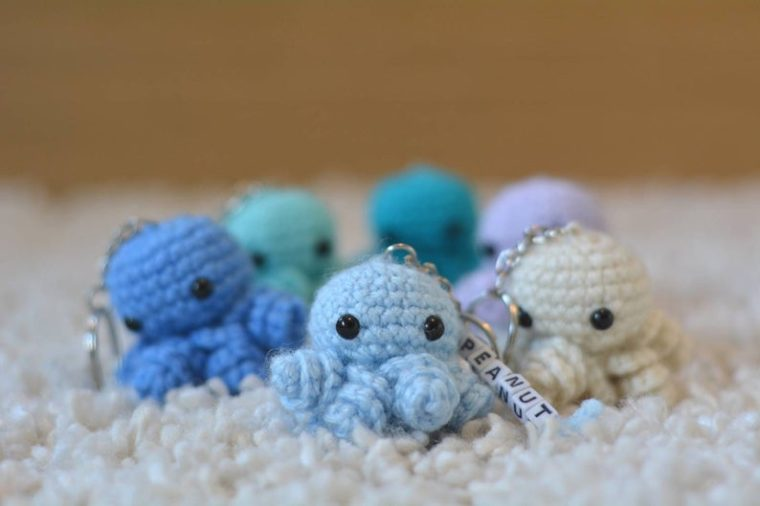 cute crochet octopus keychains