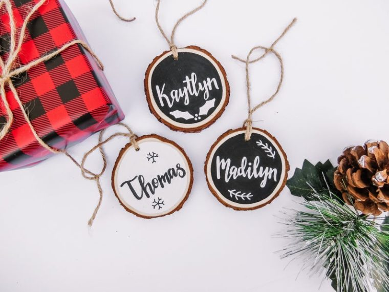 personalized wood slice Christmas ornaments