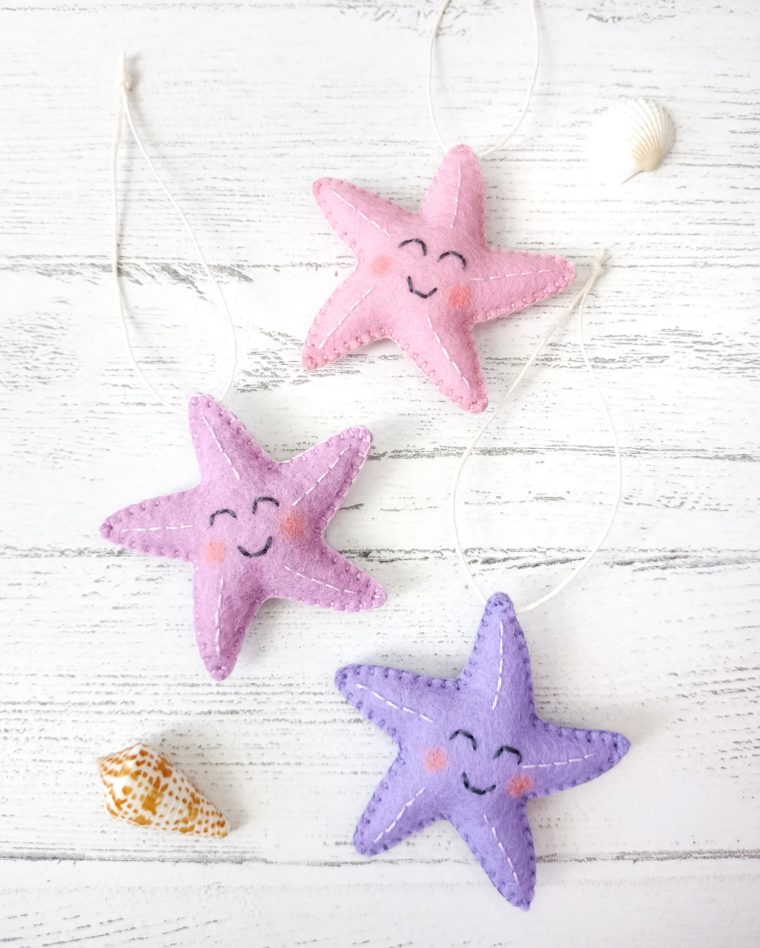 Felt starfish ornaments. Gifts under $10 for kids