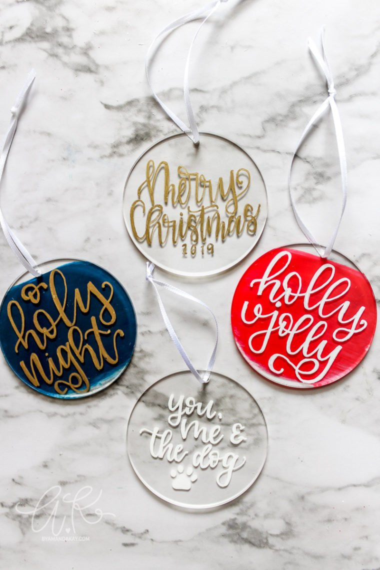 How to handletter on acrylic ornaments for Christmas