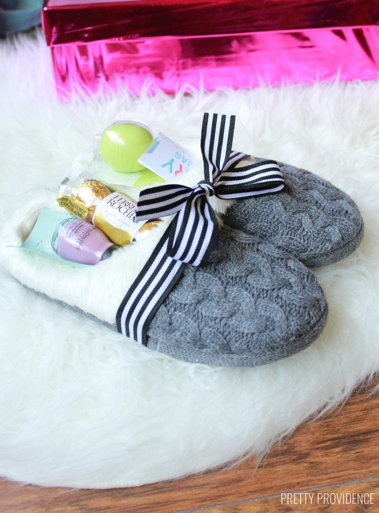 Assemble a sweet slippers gift with nail polish and other essentials